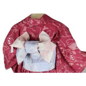 咲く季ブランド ラメ入りローズ/市松柄  リバーシブル 浴衣帯 小袋 SAO-2 日本製|ran