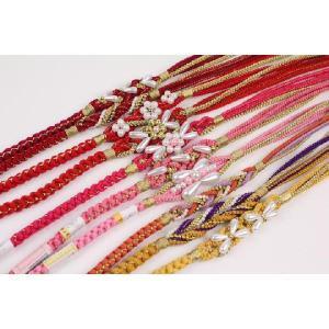 振袖用 正絹 手組み 豪華なパールビーズ飾り付 帯〆 全21色(1〜10)|ran