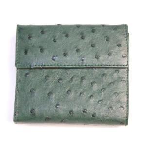 オーストリッチ革  高級 女性用二つ折り財布 3 ran