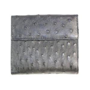 オーストリッチ革  高級 女性用二つ折り財布 2 ran