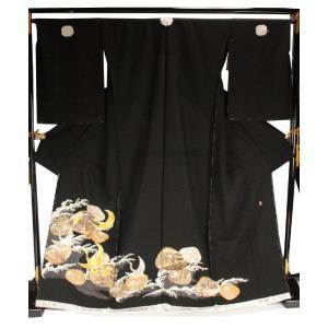 黒留袖 手縫い仕立て付 正絹 紋形駒刺繍 落款入り TQK-39 (未仕立) ran