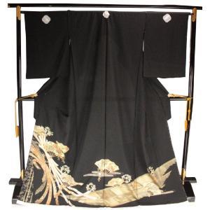黒留袖 手縫い仕立て付 正絹 金銀箔入り 扇 熨斗柄 TQK-41 (未仕立) ran