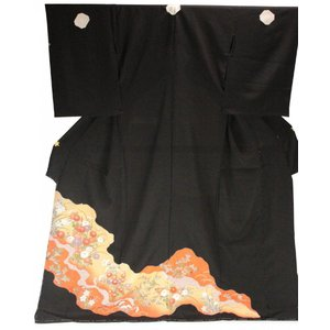 黒留袖 手縫い仕立て付 正絹 仮絵羽 金箔入り 疋田 TQK-47 (未仕立) ran