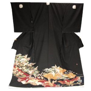 黒留袖 手縫い仕立て付 正絹 仮絵羽 鶴柄 手描 落款入り TQK-48 (未仕立) ran