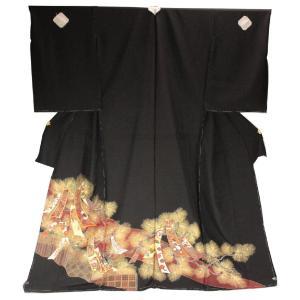 黒留袖 手縫い仕立て付 正絹 仮絵羽 手描 熨斗 松葉柄  TQK-50 (未仕立) ran