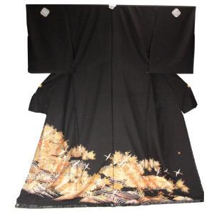 黒留袖 手縫い仕立て付 正絹 仮絵羽 漆 螺鈿 落款入り TQK-51(未仕立)フリーサイズ ran