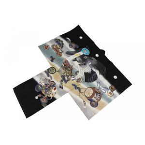お宮参り 正絹 男児 産着 鷹と扇子と小槌 御祝着(のしめ) UOM-1 (フードセットをプレゼント!) ran