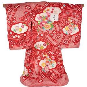 お宮参り 正絹 女児 産着 鈴刺繍入り 絞り柄 御祝着(のしめ) MU-22 (フードセットをプレゼント!) ran