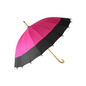 桜音符 不思議傘 水に濡れると柄が出る 傘 つつじ色に黒 YS-011-13 KSA-24-4|ran