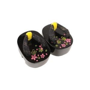 【和雑貨】 かわいい 飾り ミニ下駄 MGT-7 (黒・花柄)|ran