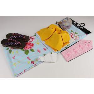 2Lサイズ お仕立て上り浴衣(14)帯(A)6点セット(下駄25.0cm,重ね衿,扇子はおまかせです)MTT-14A|ran
