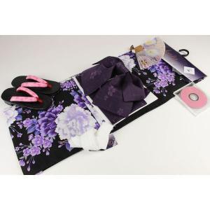 4Lサイズ お仕立て上り浴衣(14)帯(J)7点セット(下駄25.5cm,重ね衿,扇子はおまかせです)FUR-14A|ran