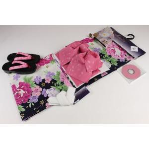 4Lサイズ  お仕立て上り浴衣(2)帯(H)7点セット(下駄25.5cm,重ね衿,扇子はおまかせです)FUR-2A|ran