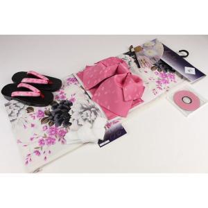 4Lサイズ お仕立て上り浴衣(4)帯(H)7点セット(下駄25.5cm,重ね衿,扇子はおまかせです)FUR-4A|ran