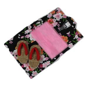 浴衣セット Kawaiina 女の子 ゆかた 黒色(紅梅織り) 3点セット KWG-16 100/110/120cm ran