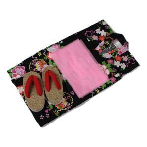 浴衣セット Kawaiina 女の子 ゆかた 黒色(紅梅織り) 3点セット KWG-17 100/120cm ran