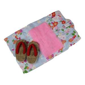 浴衣セット Kawaiina 女の子 ゆかた 青色(紅梅織り) 3点セット KWG-18 100/110/120cm ran
