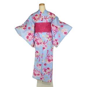 浴衣セット 浴衣・作り帯 ジュニア RY-4-SET 女の子 お仕立て上り 紅梅 ラメ入り 150cm ran