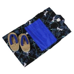 浴衣セット Kawaiina 男の子 ゆかた 黒色 紅梅織り 3点セット KWS-1 100cm/120cm ran