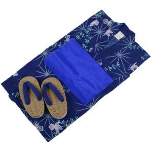 浴衣セット Kawaiina 男の子 ゆかた 青色 紅梅織り 3点セット KWS-10 120cm ran