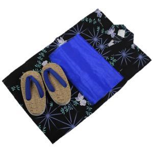 浴衣セット Kawaiina 男の子 ゆかた 黒色 紅梅織り 3点セット KWS-11 100cm/120cm ran