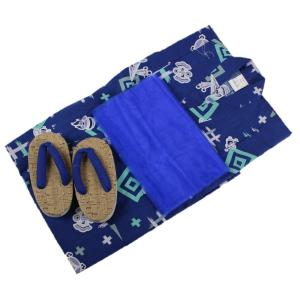 浴衣セット Kawaiina 男の子 ゆかた 青色 紅梅織り 3点セット KWS-7 100cm/110cm/120cm ran