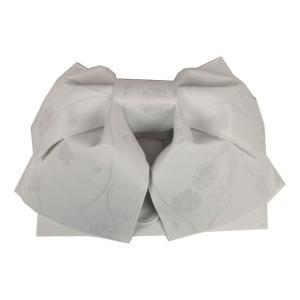 浴衣用 結び帯 NTO-4 作り帯 日本製 縦枠に桜 白色 ran