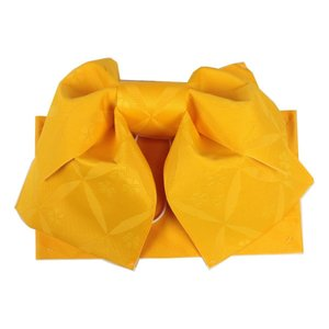 浴衣用 結び帯 NTO-5 作り帯  日本製 七宝に桜 黄色 ran
