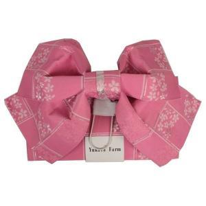 浴衣用 結び帯 TB-21 作り帯 ピンク色 桜柄 銀糸入り ran