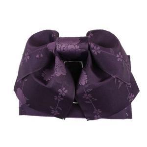 浴衣用 結び帯 V2 作り帯 日本製 紫色 紋様入り 無地 しだれ桜|ran