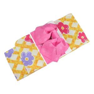 浴衣セット JKU-UO-2 (ピンク) ジュニア 140cm 150cm 作り帯 2点セット 花柄 浴衣 帯 ran