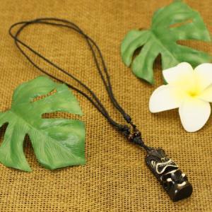 特別価格 ハワイの神様 ティキ(TIKI) クー(戦いの神) ボーンカービング ペンダント(こげ茶) 長さ調整可能|ハワイ|ネックレス|ポリネシア|彫刻|手彫り|rapanui
