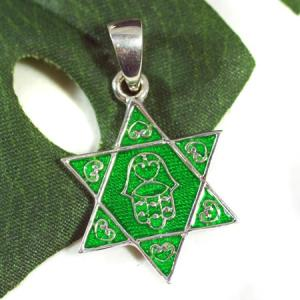 六芒星(ダビデの星) スターリングシルバー ライトグリーン(エナメルコーティング) ペンダントトップ|ソロモンの印|イスラエル|ユダヤ教|rapanui