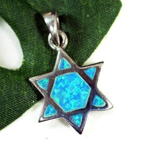 六芒星(ダビデの星) オパール(人工) スターリングシルバー ペンダントトップ|ソロモンの印|イスラエル|ユダヤ教|rapanui