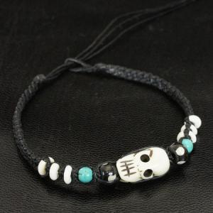 チベット ヤクの骨 スカル(ドクロ) カービング 編込み ブレスレット |チベット密教|彫刻|手作り メール便対応可|rapanui