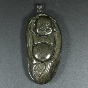 一点物 レインボーオブシディアン 布袋様(ほてい) 彫刻 ペンダントトップ 弥勒菩薩 七福神 カービング 和柄 メール便対応可 rapanui
