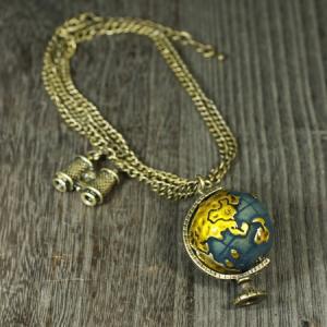 地球儀 ブラス(真鍮) アンティーク ネックレス アジャスター付(長さ調節可能)|双眼鏡|ペンダント メール便対応可|rapanui