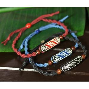 アイヌ紋様 エリマキ 彫刻 ロウ引き紐 ブレスレット 手首周り調整可能 ウッドカービング カムイ 神威 北海道 手彫り 和柄 メール便対応可 rapanui