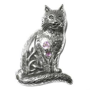 PETER STONE セルティック キャット アメジスト スターリングシルバー ペンダントトップ|ネコ|猫|ケルト|ケルティックノット|シルバー925|rapanui
