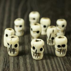 チベット ヤクの骨 スカル(ドクロ) カービング ビーズ 10個セット|チベット密教|彫刻|手作り メール便対応可|rapanui