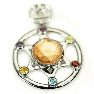 ギベオン隕石(ピンクゴールド)&6種類の宝石 六芒星(ダビデの星)スターリングシルバー ペンダントトップ|イスラエル|ユダヤ教|ダビデの星|メテオライト|rapanui