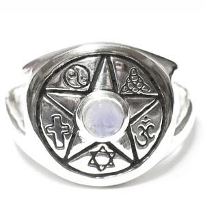 PETER STONE レインボームーンストーン 五芒星 世界のシンボル スターリングシルバーリング|指輪|六芒星|オム|クロス|月星章旗|護符|和柄|rapanui
