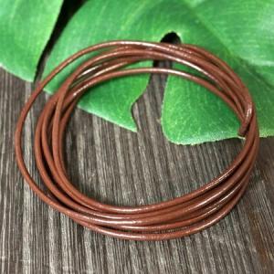 卸価格販売 レザーコード(革紐)丸型 牛革 直径1.5mm×1m ブラウン(茶色)|ネックレス|チェーン|アクセサリー用|素材 メール便対応可|rapanui