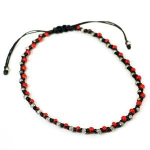 カレン族シルバー 伝統模様 パドゥア ホワイトハートビーズ ワックスコード アンクレット サイズ調整可能|タイ|山岳民族|カレン族|文様・模様|パーツ|rapanui