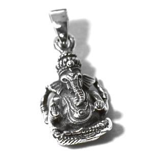 ガネーシャ スターリングシルバー ペンダントトップ|夢をかなえるゾウ|シルバー925|インド神話|ヒ...