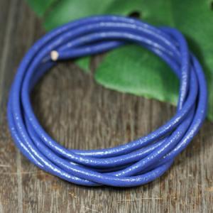 卸価格販売 レザーコード(革紐)丸型 牛革 直径3mm×1m ブルー|ネックレス|チェーン|アクセサリー用|素材 メール便対応可|rapanui