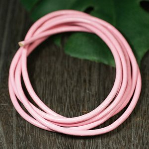 卸価格販売 レザーコード(革紐)丸型 牛革 直径3mm×1m ピンク|ネックレス|チェーン|アクセサリー用|素材 メール便対応可|rapanui