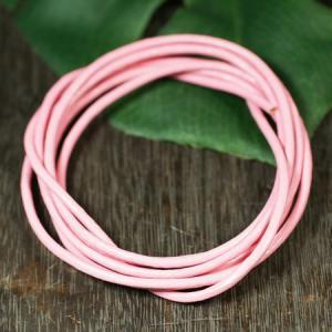 卸価格販売 レザーコード(革紐)丸型 牛革 直径2.0mm×1m ピンク|ネックレス|チェーン|アクセサリー用|素材 メール便対応可|rapanui