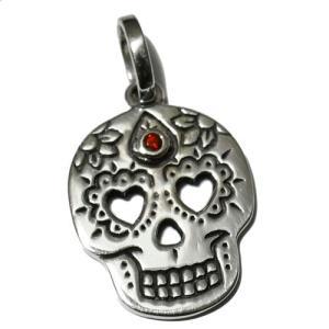 メキシコ シュガースカル(ドクロ)天然石&シルバー925 ペンダントトップ|アメジスト|ガーネット|ラピスラズリ|ペリドット|メキシカンスカル|rapanui