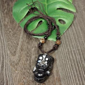一点物 チベット天眼石 鬼(オニ) オニキス 黒檀 ネックレス 長さ調整可能|天然石|パワーストーン|チベット密教|法具|一点物|rapanui
